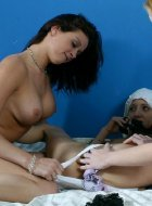 Amateur wet panty teen trio tasting some wet pussy