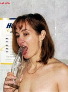 Naughty horny naked blonde gets bottle licked