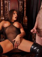 Horny femdom has cock contest with her two slaves