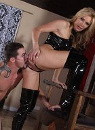 leather blonde chick femdom anilingus with facesit