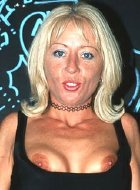 Blonde milf show her lovely boobs and shaved pussy
