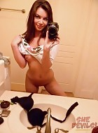 Cute and naughty young teen self shot mirror girl