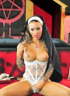 evil porn nun Christy Mack inserts statue in pussy