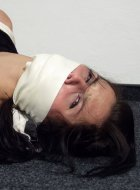 Amateur subbie girl is gagged with a silk scarf