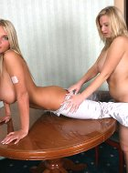 Ines Cudna with teen Malina May action  in office