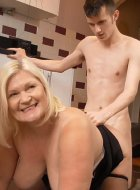 Granny is happy when she get dick right in kitchen